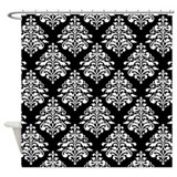 Black and white damask Shower Curtains