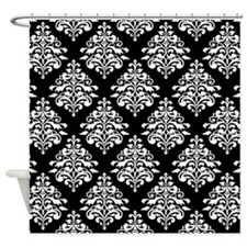 Damask black white Shower Curtain