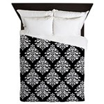 Damask black white Queen Duvet