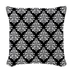 Damask black white Woven Throw Pillow