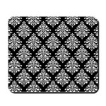 Damask black white Mousepad