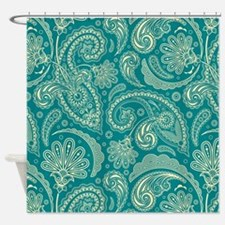 Funny Blue paisley Shower Curtain