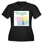 Yoga Baby Blocks Women's Plus Size V-Neck Dark T-S