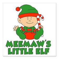 "Meemaw's Little Elf Square Car Magnet 3"" x 3"""