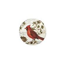 modern vintage winter woodland cardinal Mini Butto