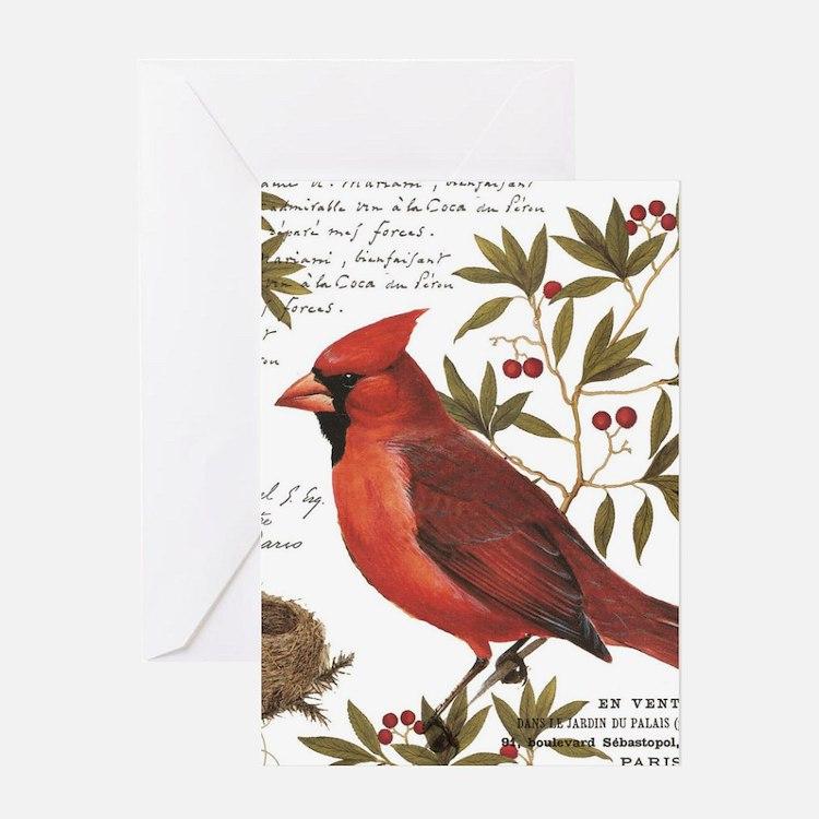 modern vintage winter woodland cardinal Greeting C