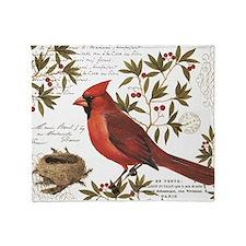 modern vintage winter woodland cardinal Throw Blan