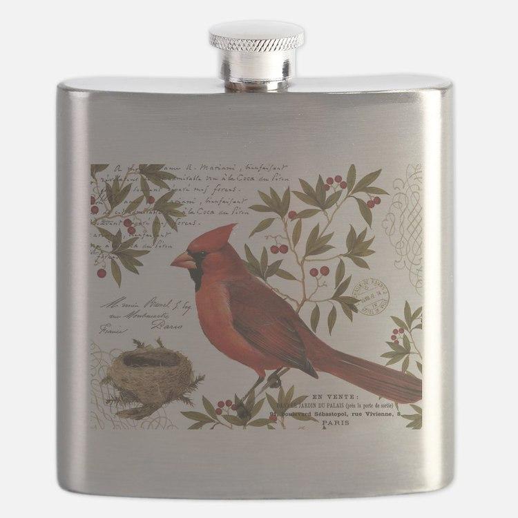 modern vintage winter woodland cardinal Flask