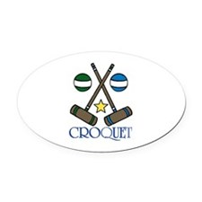 Croquet Oval Car Magnet