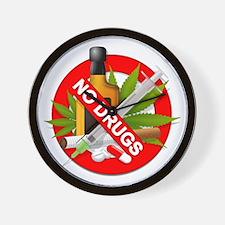 No Drugs Wall Clock