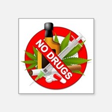 "No Drugs Square Sticker 3"" x 3"""