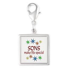Special Son Silver Square Charm