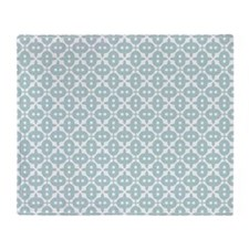 Mint and White Tile Pattern Throw Blanket