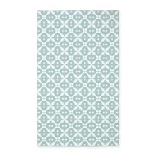 Mint and White Tile Pattern 3'x5' Area Rug