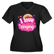 I Love Singi Women's Plus Size V-Neck Dark T-Shirt