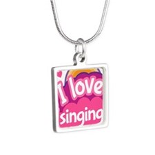 I Love Singing Silver Square Necklace