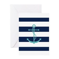 Teal Anchor on Navy Blue Stripes Greeting Cards