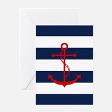Red Anchor on Blue Stripes Greeting Cards