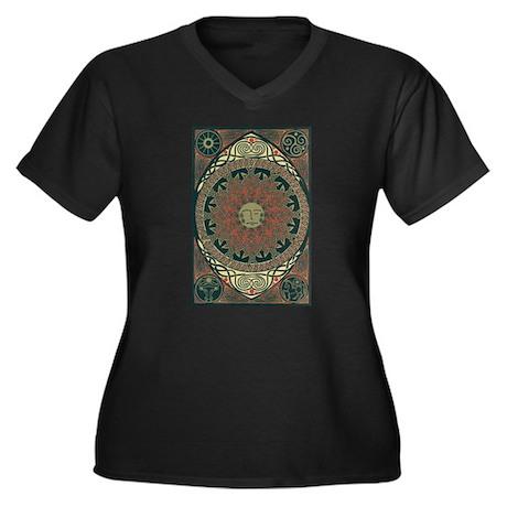 Sun and Moon Symbolism Women's Plus Size V-Neck Da