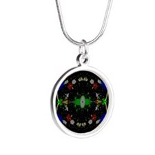 Unique Theta waves Silver Round Necklace