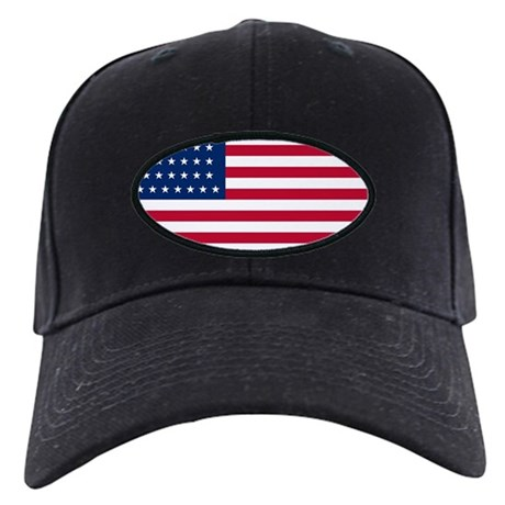 37 Star US Flag Black Cap