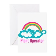 Rainbow Cloud Plant Operator Greeting Card