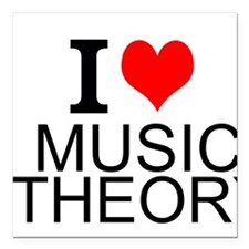 "I Love Music Theory Square Car Magnet 3"" x 3"""