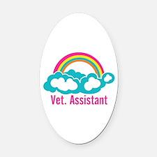 Rainbow Veterinary Assistant Oval Car Magnet