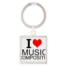 I Love Music Composition Keychains