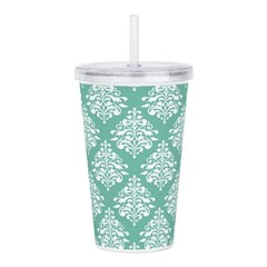 Damask green white Acrylic Double-wall Tumbler