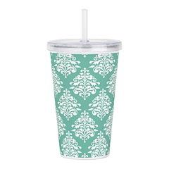 Damask green white Acrylic Double-wall Tumbler
