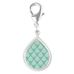 Damask green white Silver Teardrop Charm