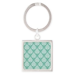Damask green white Square Keychain