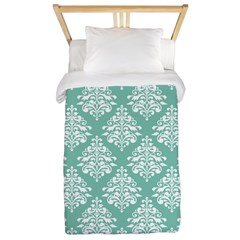 Damask green white Twin Duvet