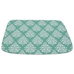 Damask green white Bathmat