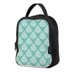 Damask green white Neoprene Lunch Bag