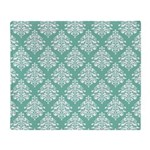 Damask green white Throw Blanket