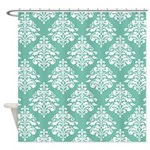 Damask green white Shower Curtain