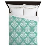 Damask green white Queen Duvet