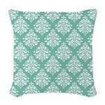 Damask green white Woven Throw Pillow