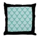 Damask green white Throw Pillow