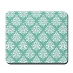 Damask green white Mousepad