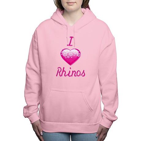 I Love/Heart Rhinos Women's Hooded Sweatshirt