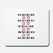 Geek Guru Navy and Red Design Mousepad
