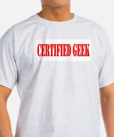 Certified Geek Red Design Ash Grey T-Shirt