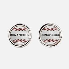 Personalized Baseball Red/White Round Cufflinks