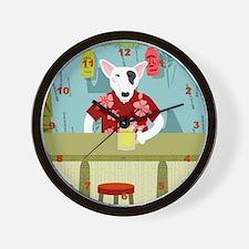 English Bull Terrier Tiki Bar Wall Clock