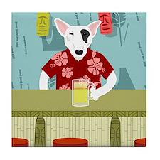 English Bull Terrier Tiki Bar Tile Coaster