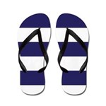 Nautical Navy Blue Stripes Flip Flops