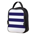 Nautical Navy Blue Stripes Neoprene Lunch Bag